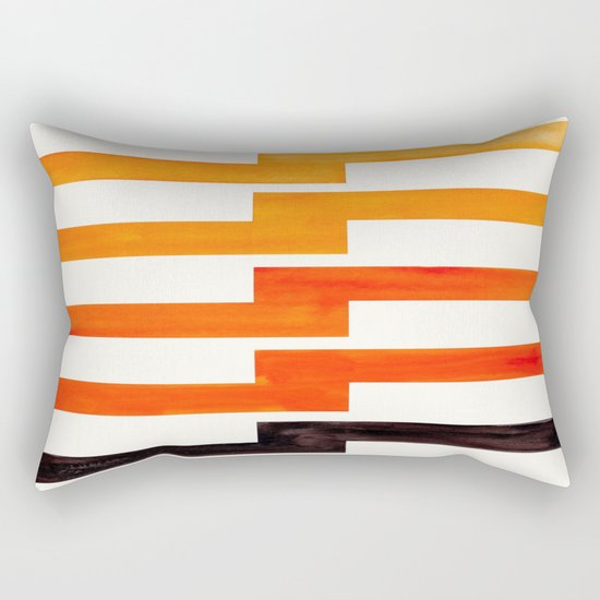 Orange & Black Geometric Minimal Mid Century Modern Lightning Bolt Pattern Watercolor Art ...