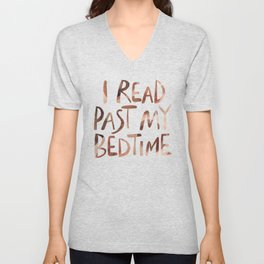 I read past my bedtime - Earthy colors Unisex V-Neck