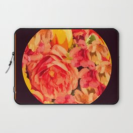 Orange Floral Ball Art on Black Background  #decor #society6 #buyart Laptop Sleeve