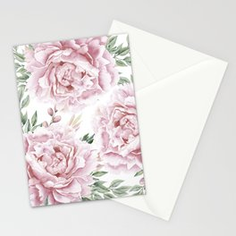 Pretty Pink Roses Flower Garden Stationery Cards