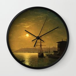 Constantinople (Istanbul) by Moonlight by Ivan Aivazovsky Wall Clock