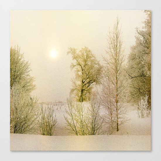 Golden Winter Forest Canvas Print