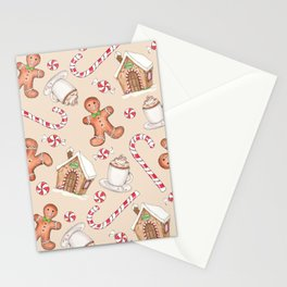 Gingerbread & Peppermint Repeat Pattern -Holiday Pattern Stationery Cards