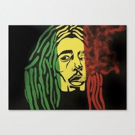 rasta man,vibration,jamaica,reggae,music,smoke,ganja,weed,pop art,portrait,wall mural,wall art,paint Canvas Print