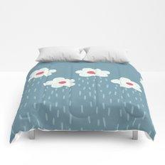 Rainy Flowery Clouds Comforters