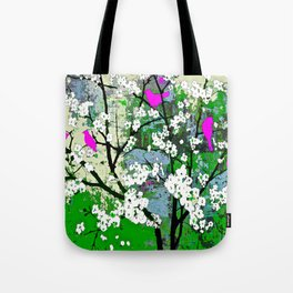 Pink Birds and White Blossoms on Trees Tote Bag