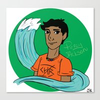 percy jackson Canvas Prints featuring Percy by simone kett