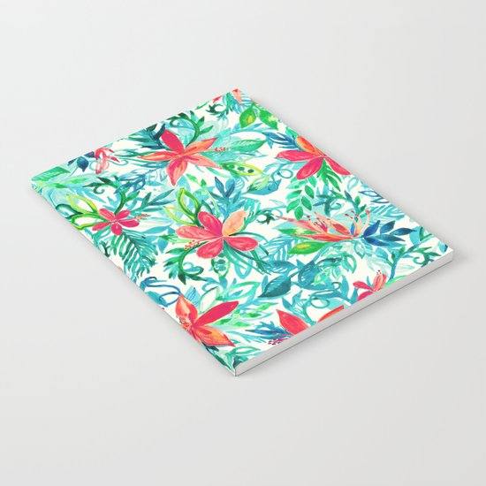 Paradise Floral - a watercolor pattern Notebook