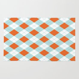 Aqua, Mint and Coral Orange Argyle Pattern Rug