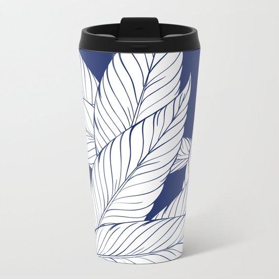 SUMMERTIME (Leaves on blue) Metal Travel Mug