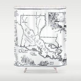 Vintage Map of Louisiana (1912) Shower Curtain