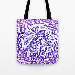 Songbird In Magnolia Wreath, Purple Linocut Tote Bag