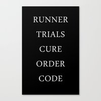 maze runner Canvas Prints featuring Maze Runner Titles by IA Apparel