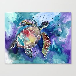 Sea Turtle underwater, beach deep blue barine blue turtle beach style design Canvas Print