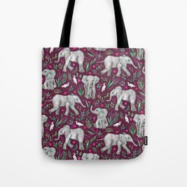Baby Elephants and Egrets in Watercolor - burgundy red Tote Bag