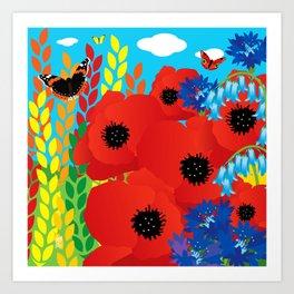 CORNFIELD with BUTTERFLIES Art Print