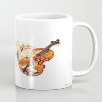 violin Mugs featuring violin by arnedayan