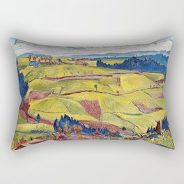 Chamonix Valley and Snow-capped French Alps landscape by Cuno Amiet Rectangular Pillow