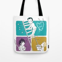 moriarty Tote Bags featuring Catch Moriarty! by sadyna