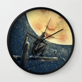 The Moon and the Crow Wall Clock