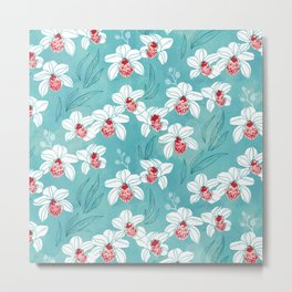 Orchid garden in peach on turquoise green Metal Print