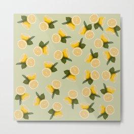 Yellow Citrus Lemon Fruit on Pale Lime Green Metal Print