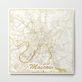 Moscow Map Gold Metal Print