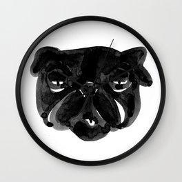 Irritated Sleepy Pug Dog Wall Clock