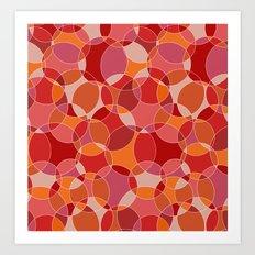 Circles in red Art Print