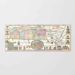 Vintage Map of Israel (1632) Canvas Print