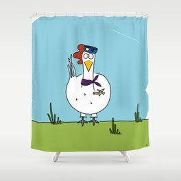 Eglantine la poule (the hen) dressed up as an air hostess Shower Curtain
