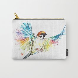 Colorful Sparrow Watercolor Painting Carry-All Pouch