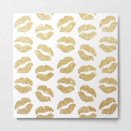 Gold Glitter Lips Metal Print