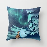 northern lights Throw Pillows featuring Northern Lights by Julia Gingras