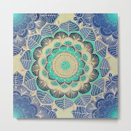 Midnight Bloom - detailed floral doodle in gold, navy blue & mint Metal Print