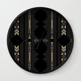 Southwestern Black Diamond Stripe Patterns Wall Clock