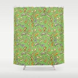 geckos in green Shower Curtain