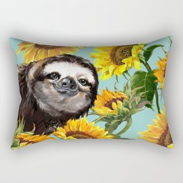 Sloth with Sunflowers Rectangular Pillow
