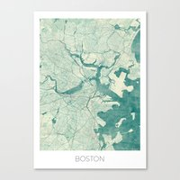 boston map Canvas Prints featuring Boston Map Blue Vintage by City Art Posters