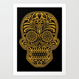 Intricate Yellow and Black Day of the Dead Sugar Skull Art Print