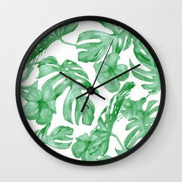 Tropical Island Leaves Green on White Wall Clock
