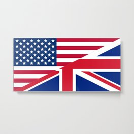 American and Union Jack Flag Metal Print