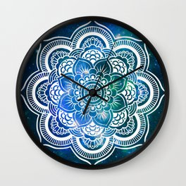 Mandala : Blue Green Galaxy Wall Clock