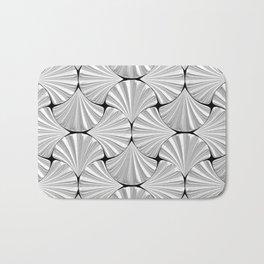3-D Art Deco Silver Shells Pattern Bath Mat