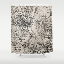 Vintage Paris old retro map Shower Curtain