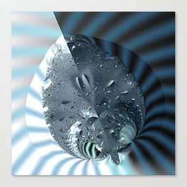 Metallic shine on a yin yang type fractal form Canvas Print