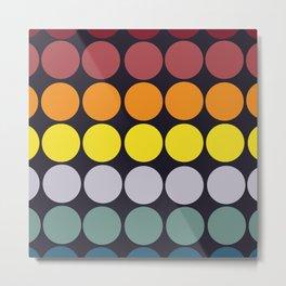 Classic Freehand Rainbow Retro Dots Metal Print