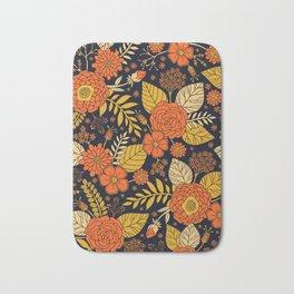 Retro Orange, Yellow, Brown, & Navy Floral Pattern Bath Mat