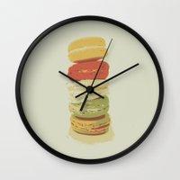 macaron Wall Clocks featuring Macaron Stack by Kya Owl