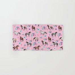Horses & Flowers, Pink Pattern, Horse Illustration, Little Girls Room, Watercolor Hand & Bath Towel